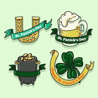 Hand drawn saint patrick's day label collection