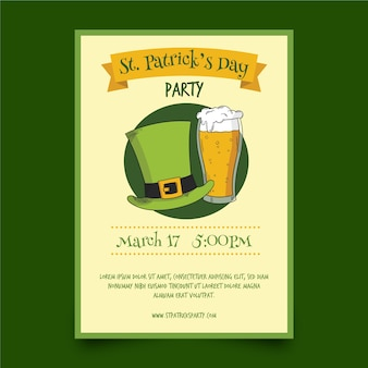 Hand drawn saint patrick's day poster template