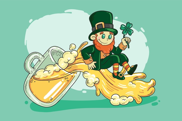 Hand drawn saint patrick's day with with beer