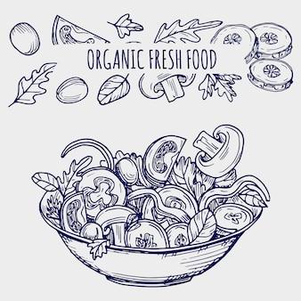 手描きサラダボウルと野菜の健康食品イラスト