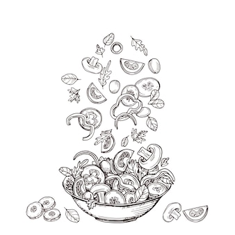 Hand drawn salad. fresh vegetable slices falling to salad-bowl. green salads diet and healthy food sketch concept.