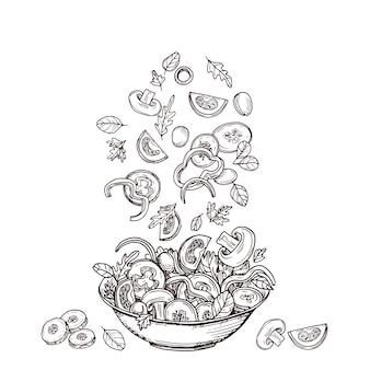 手描きのサラダ。新鮮な野菜のスライスがサラダボウルに落ちる。グリーンサラダダイエットと健康食品のスケッチのコンセプト。