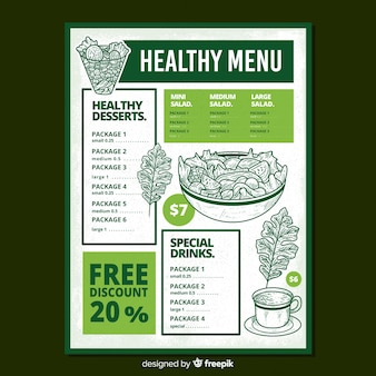 Hand drawn salad healthy menu template