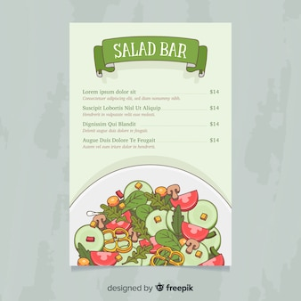 Modello di menu sano insalata disegnata a mano
