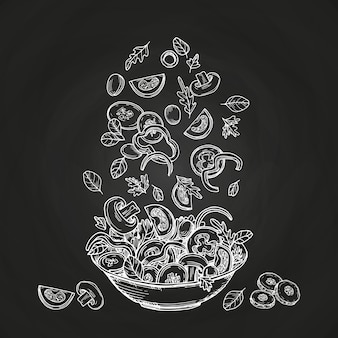 Hand drawn salad isolated on chalkboard background