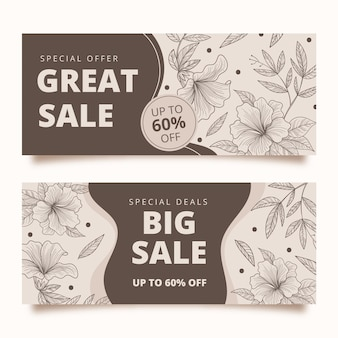 Hand drawn sale banners template