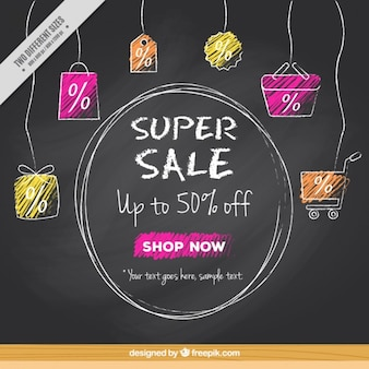 Hand drawn sale elements background in blackboard style
