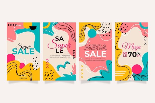 Collezione di storie di instagram di vendita disegnata a mano