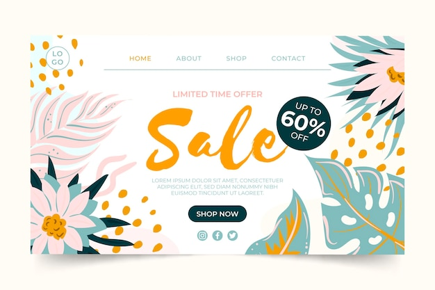 Hand drawn sale landing page