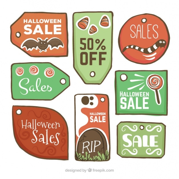 Hand-drawn sale tags for halloween