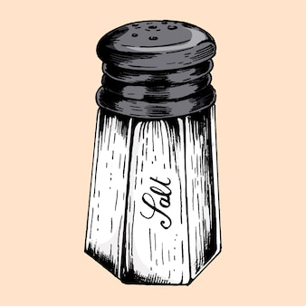 Hand drawn salt shaker
