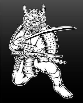 손으로 그린 사무라이 전사 그림.