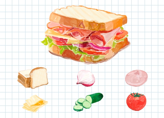Hand drawn sandwich watercolor style