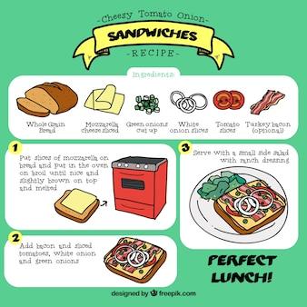手描きサンドイッチレシピ