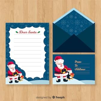 Hand drawn santa christmas envelope