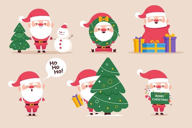 손으로 그린 산타 클로스 캐릭터 컬렉션