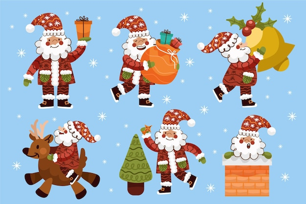 Hand drawn santa claus character collection