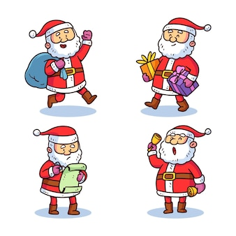 Hand drawn santa claus character collection