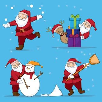 手描きのサンタクロースのキャラクター。降雪の背景に分離されたフラットスタイルの漫画のデザイン