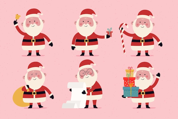 Hand drawn santa claus character set