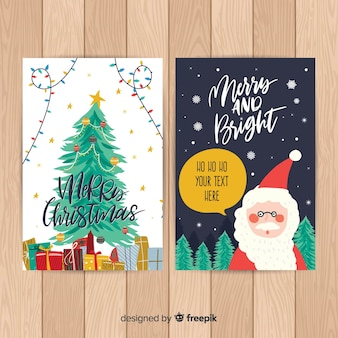 Hand drawn santa claus christmas card template