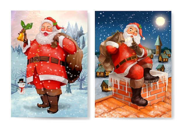 Hand drawn santa claus christmas greeting card set