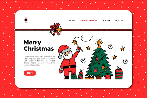 Hand drawn santa claus christmas landing page