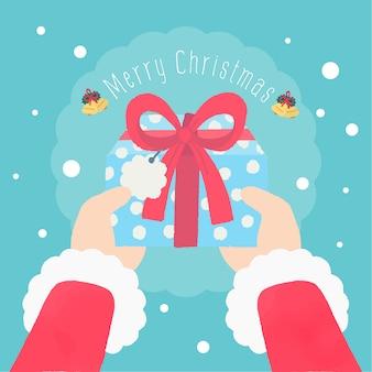Ручной обращается санта-клаус рукой подарки подарки счастливого рождества текстовый фон