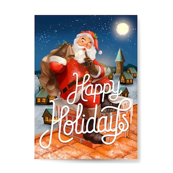 Hand drawn santa claus happy holidays greeting card