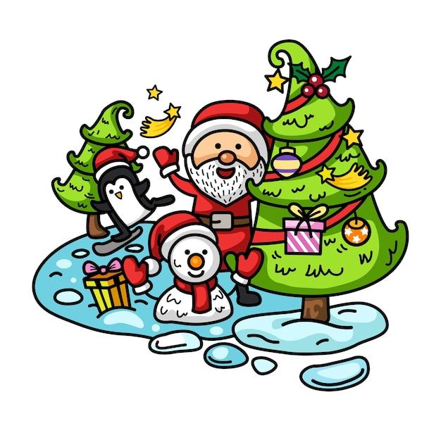 手描きのサンタクロース明けましておめでとうとメリークリスマス