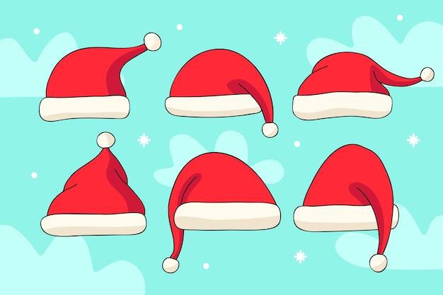 Hand drawn santa claus hat collection