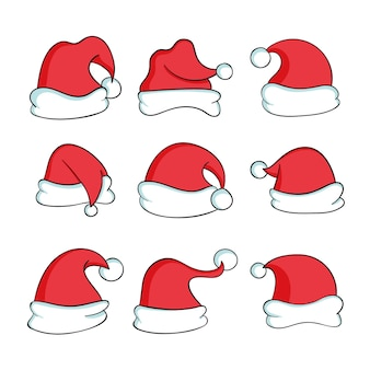 Hand drawn santa claus hat collection