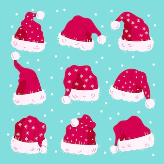 Hand drawn santa claus hats collection