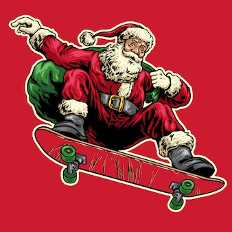 Hand drawn of santa claus jumping on skateboard