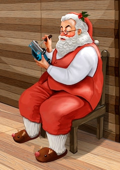 Hand drawn santa claus making christmas presents