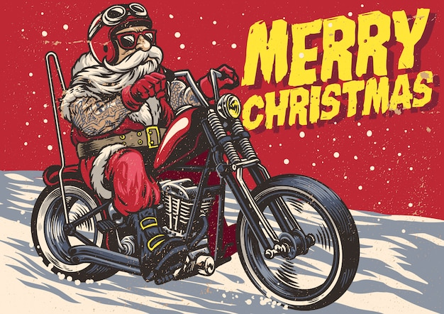 Hand drawn santa claus riding a chopper motorcycle
