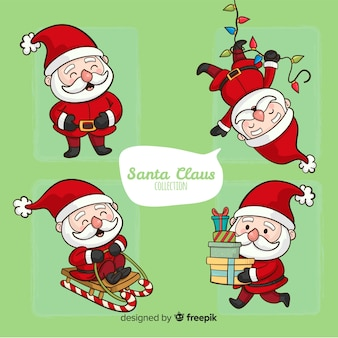 Hand drawn santa claus set