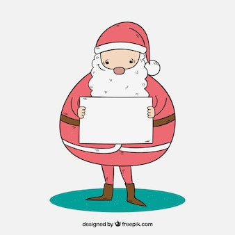 Hand drawn santa claus with a letter