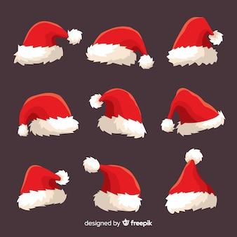 Hand drawn santa hat collection