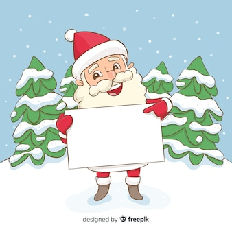 Hand drawn santa holding blank sign