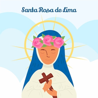 Hand drawn santa rosa de lima illustration