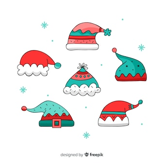 Hand drawn santa's hat collection on white background
