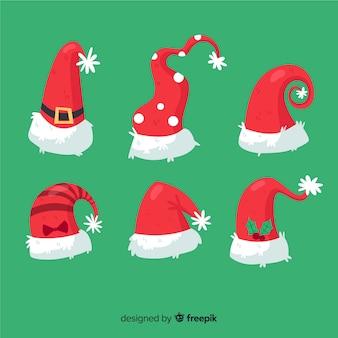 손으로 그린 산타 모자 컬렉션