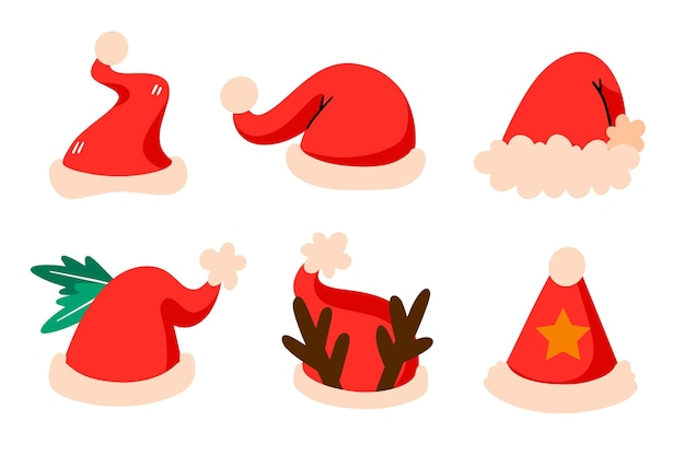 Hand drawn santa's hat collection