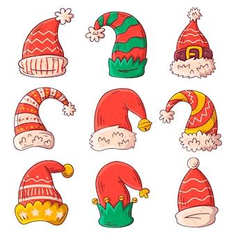 Set cappello di babbo natale disegnato a mano