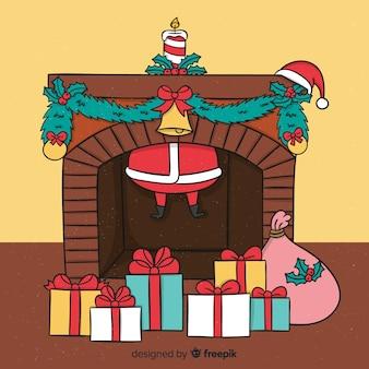 Hand drawn santa through the fireplace