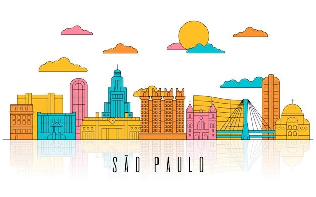 Нарисованная рукой иллюстрация горизонта сан-паулу