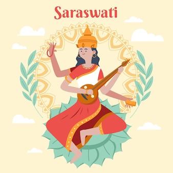 Hand drawn saraswati illustration