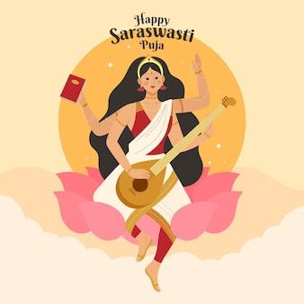 Illustrazione di saraswati disegnata a mano