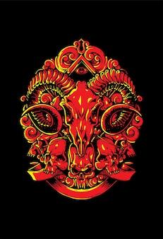 手描きの悪魔の頭蓋骨